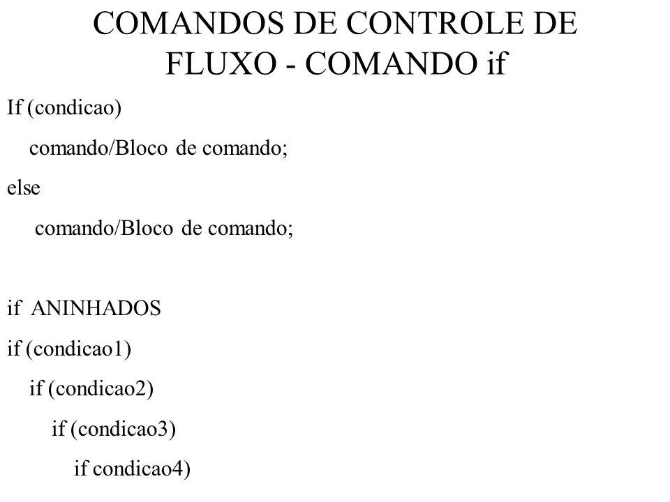 COMANDOS DE CONTROLE DE FLUXO - COMANDO if
