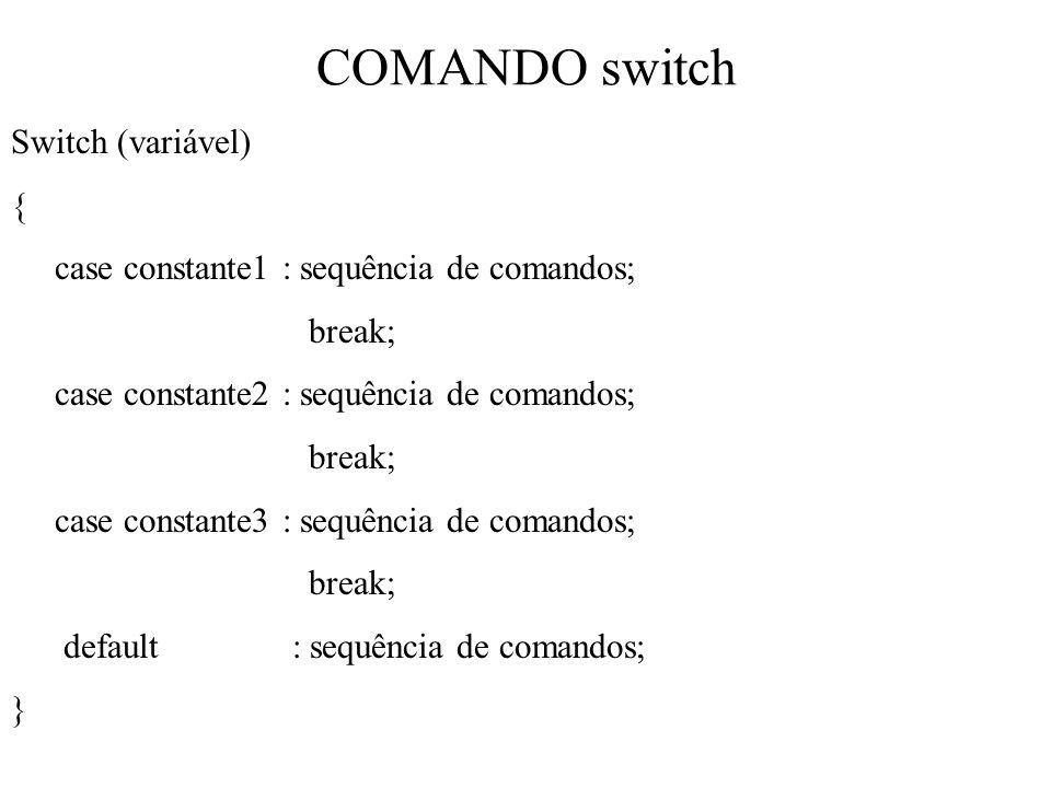 COMANDO switch Switch (variável) {