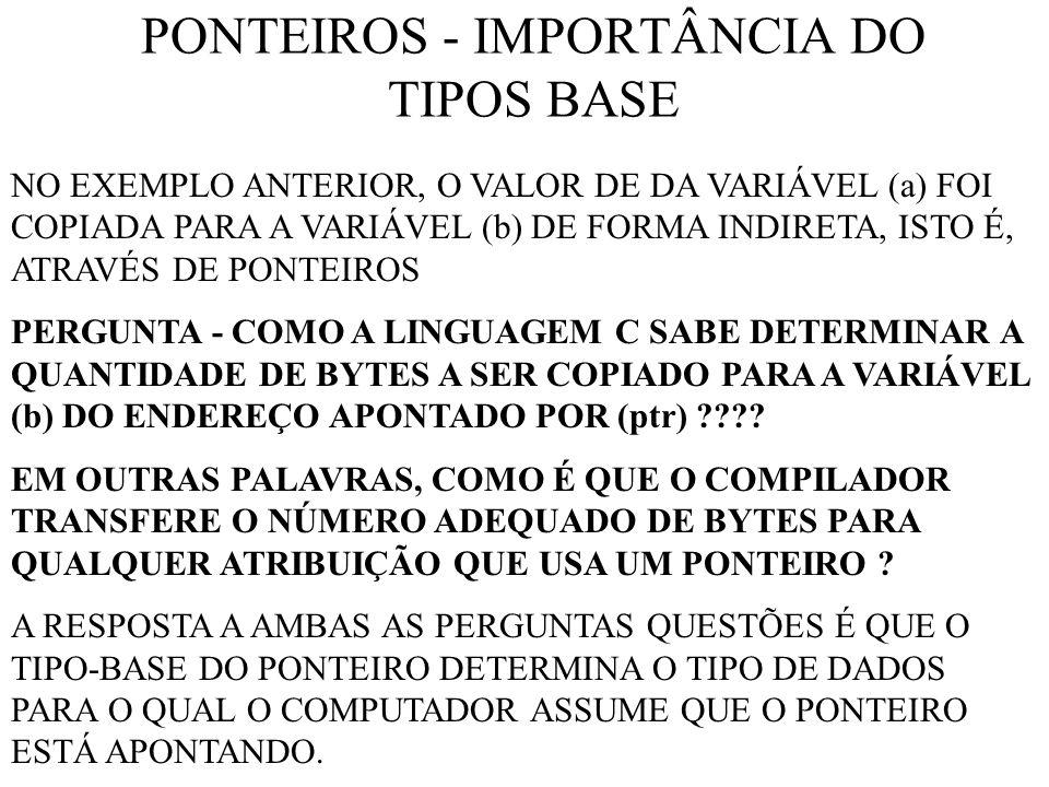 PONTEIROS - IMPORTÂNCIA DO TIPOS BASE