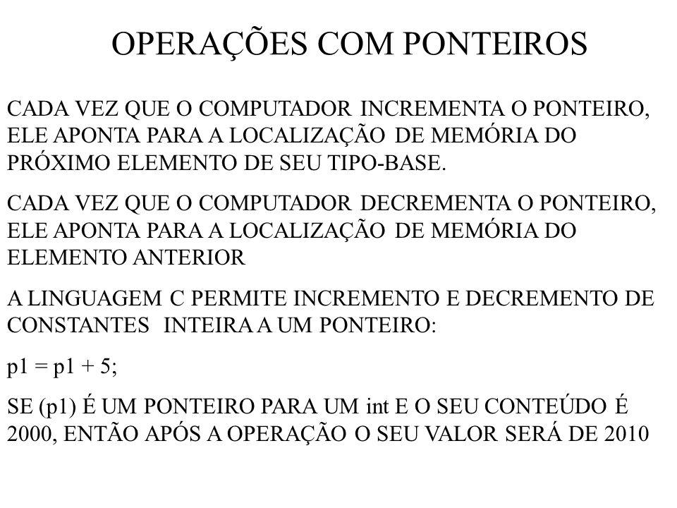 OPERAÇÕES COM PONTEIROS