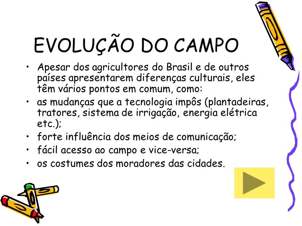 EVOLUÇÃO DO CAMPO Apesar dos agricultores do Brasil e de outros países apresentarem diferenças culturais, eles têm vários pontos em comum, como: