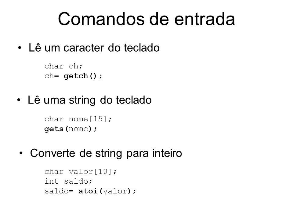 Comandos de entrada Lê um caracter do teclado Lê uma string do teclado