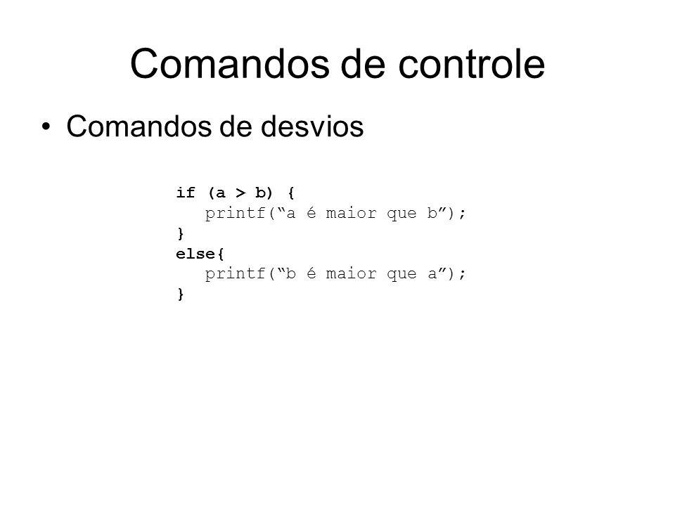 Comandos de controle Comandos de desvios if (a > b) {