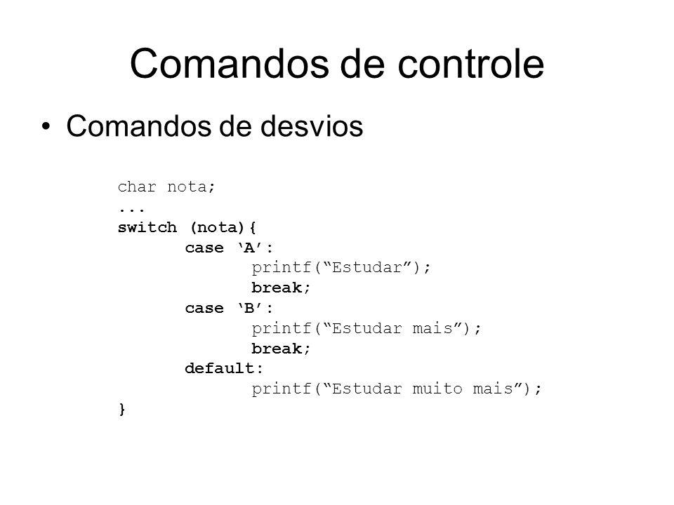 Comandos de controle Comandos de desvios char nota; ... switch (nota){