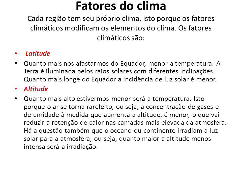 Fatores do clima Cada região tem seu próprio clima, isto porque os fatores climáticos modificam os elementos do clima. Os fatores climáticos são: