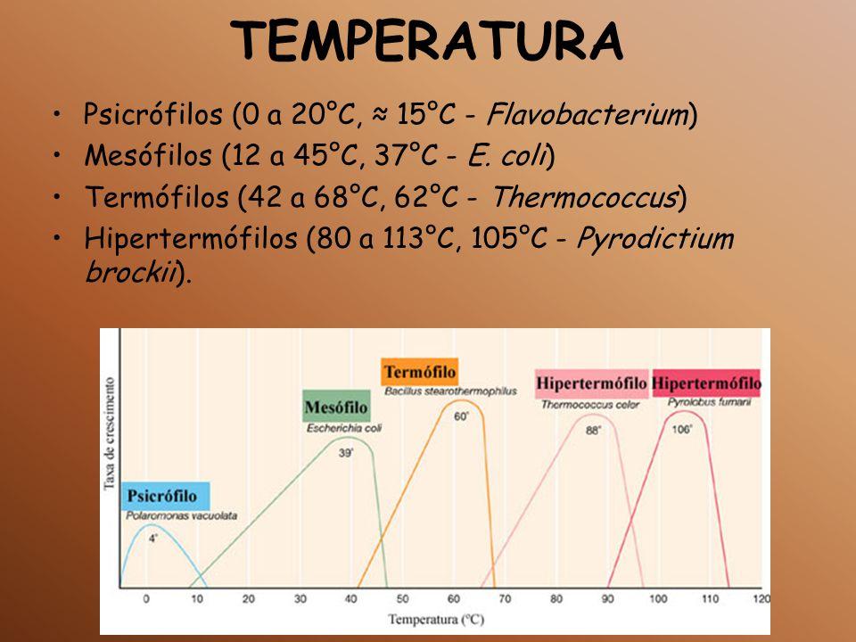 TEMPERATURA Psicrófilos (0 a 20°C, ≈ 15°C - Flavobacterium)