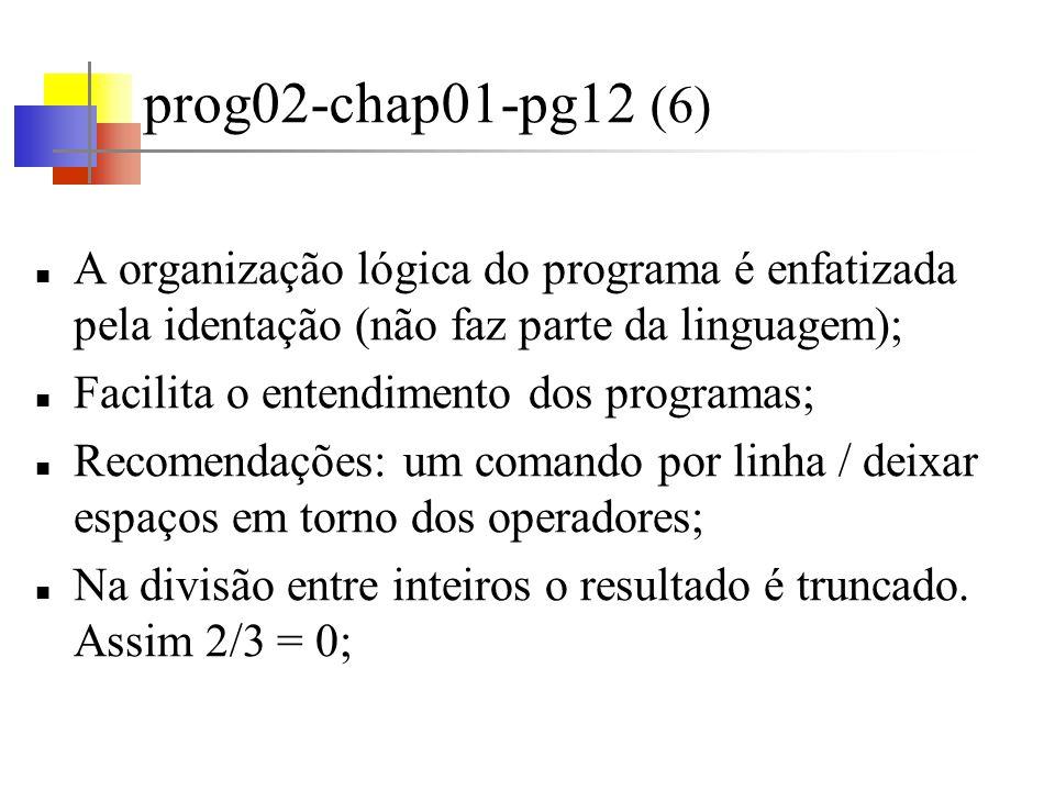 prog02-chap01-pg12 (6) A organização lógica do programa é enfatizada pela identação (não faz parte da linguagem);