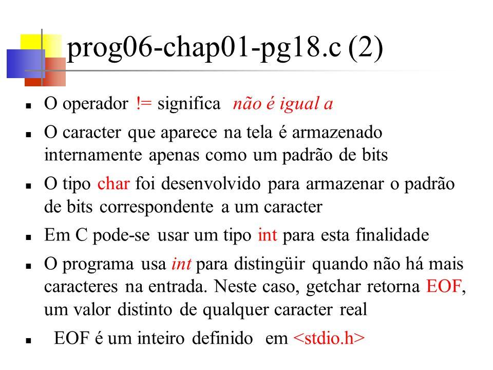 prog06-chap01-pg18.c (2) O operador != significa não é igual a