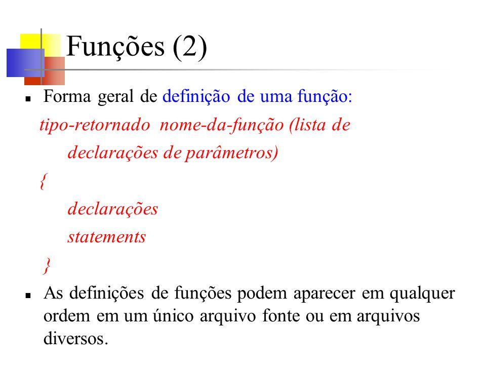 Funções (2) Forma geral de definição de uma função:
