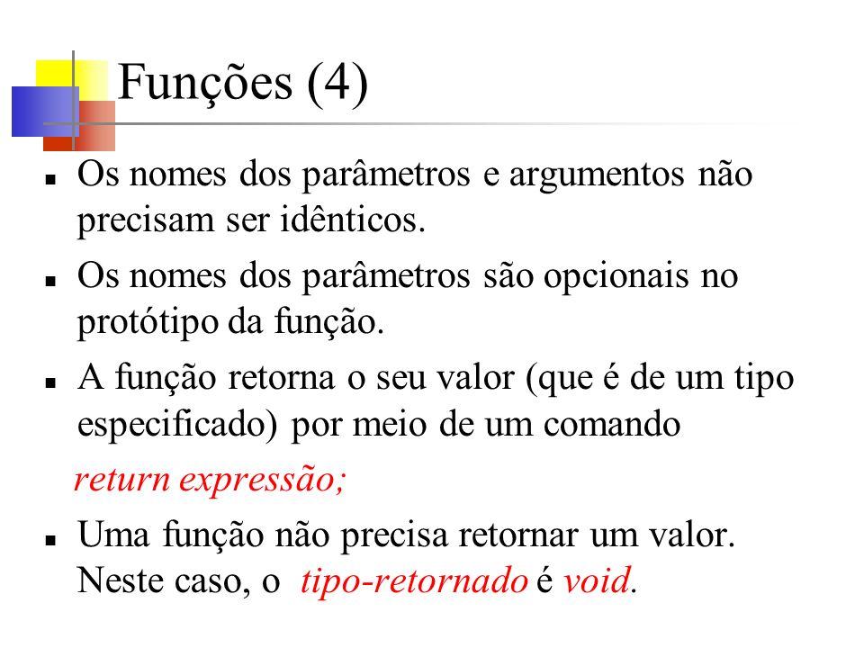 Funções (4)Os nomes dos parâmetros e argumentos não precisam ser idênticos. Os nomes dos parâmetros são opcionais no protótipo da função.