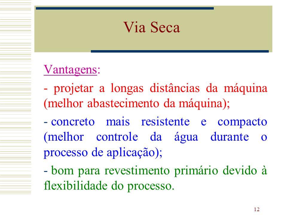 Via Seca Vantagens: - projetar a longas distâncias da máquina (melhor abastecimento da máquina);
