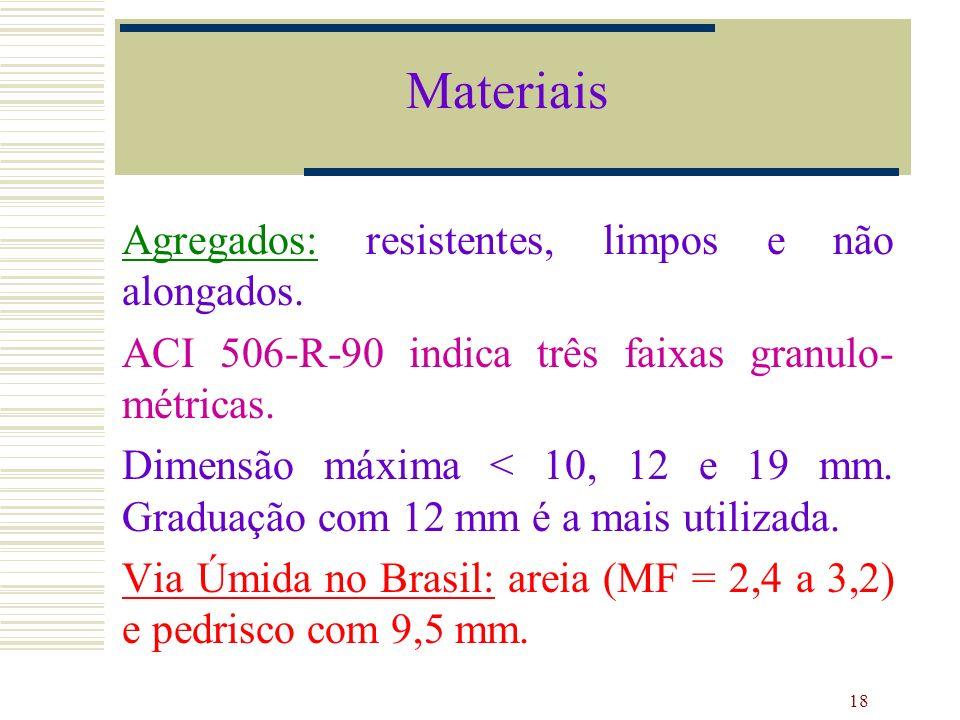 Materiais Agregados: resistentes, limpos e não alongados.