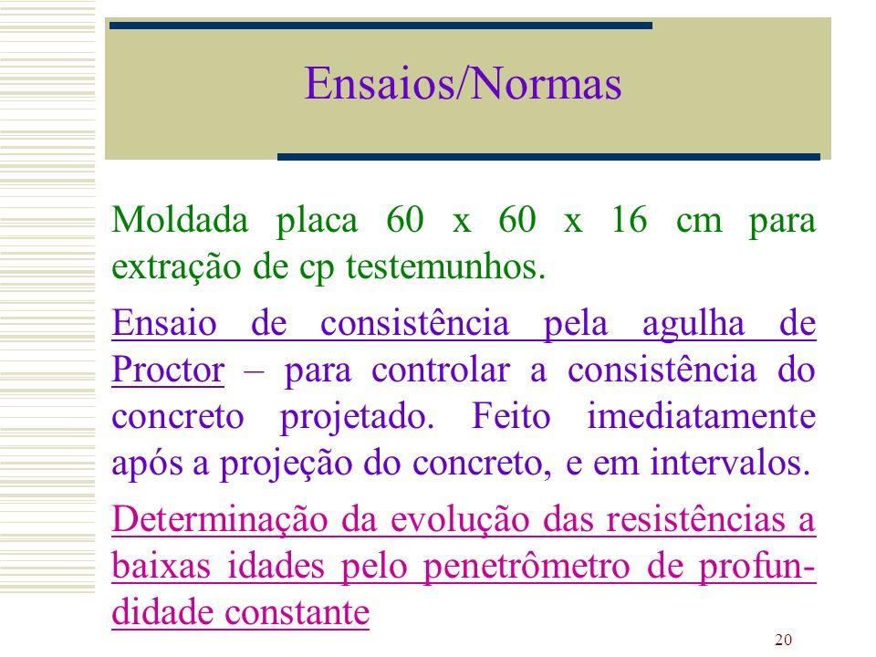 Ensaios/NormasMoldada placa 60 x 60 x 16 cm para extração de cp testemunhos.