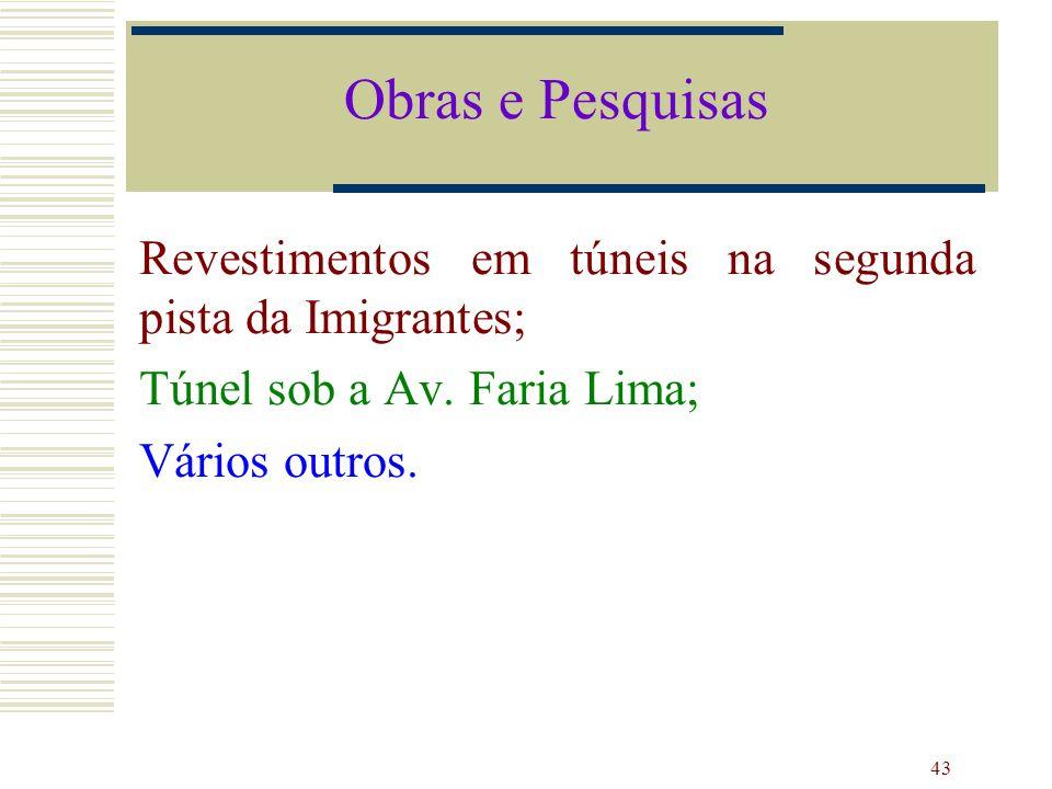 Obras e Pesquisas Revestimentos em túneis na segunda pista da Imigrantes; Túnel sob a Av. Faria Lima;