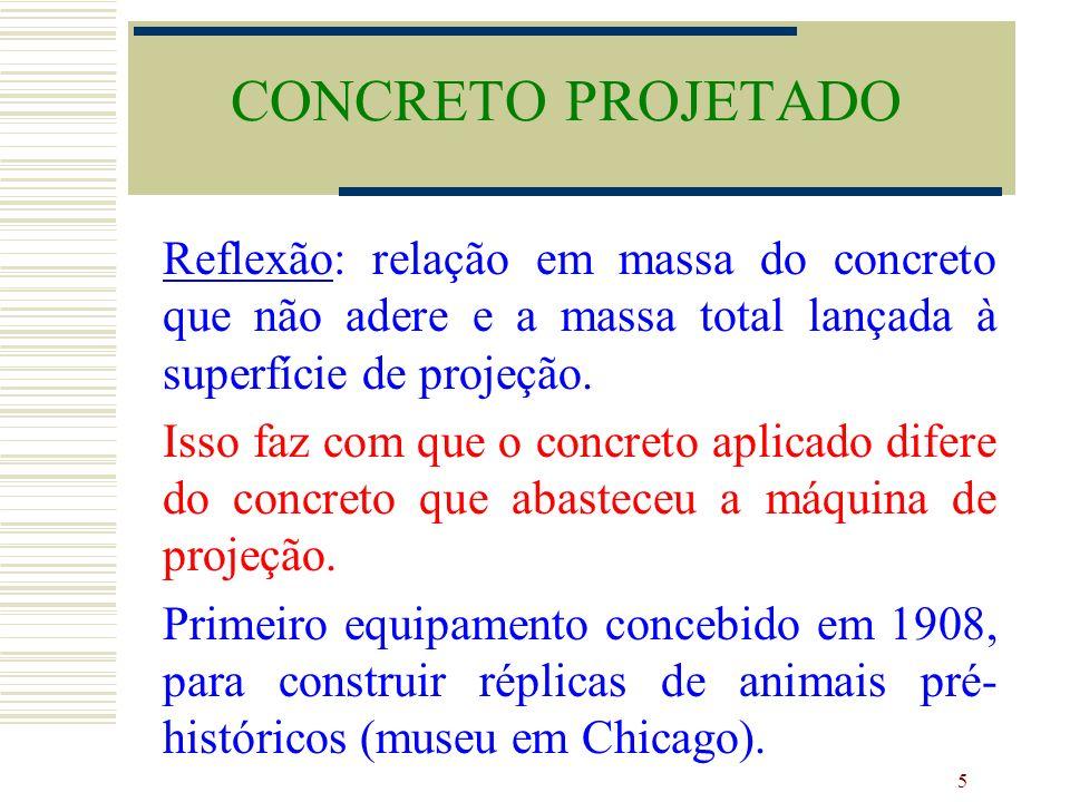 CONCRETO PROJETADO Reflexão: relação em massa do concreto que não adere e a massa total lançada à superfície de projeção.