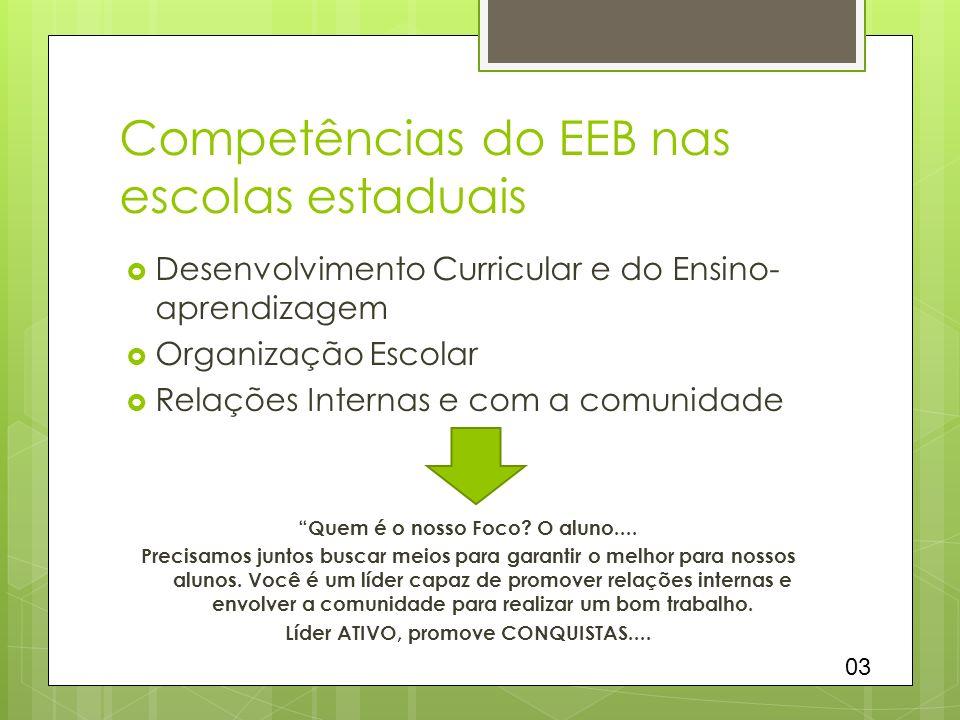 Competências do EEB nas escolas estaduais