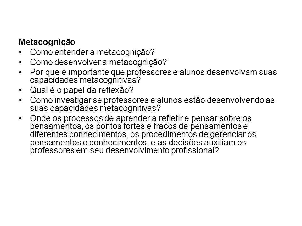 Metacognição Como entender a metacognição Como desenvolver a metacognição