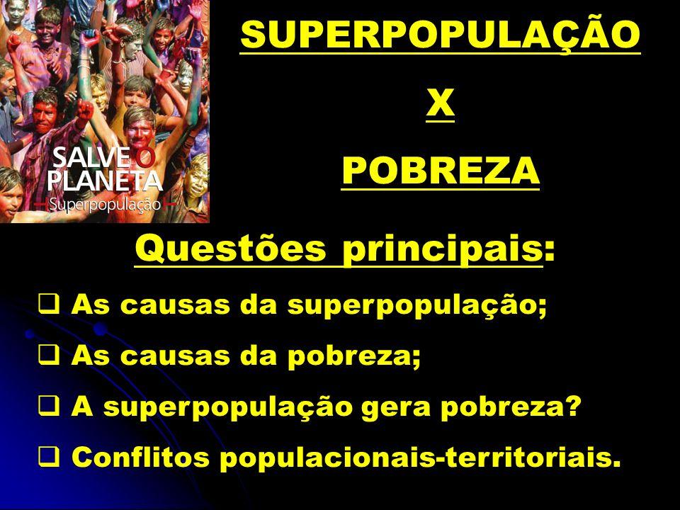 SUPERPOPULAÇÃO X POBREZA Questões principais: