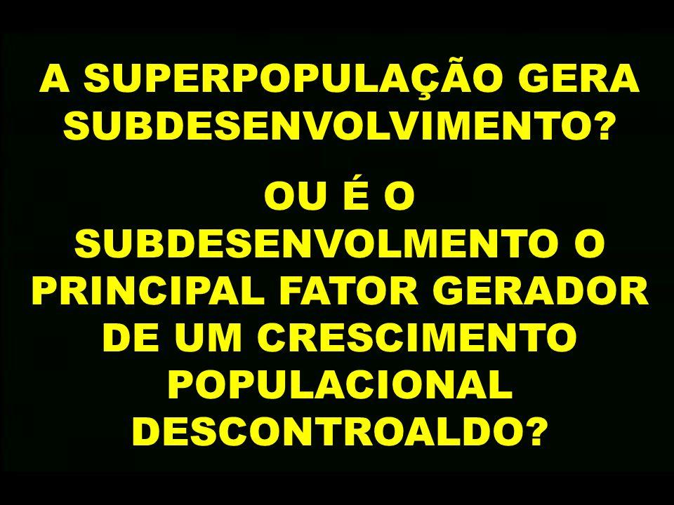 A SUPERPOPULAÇÃO GERA SUBDESENVOLVIMENTO
