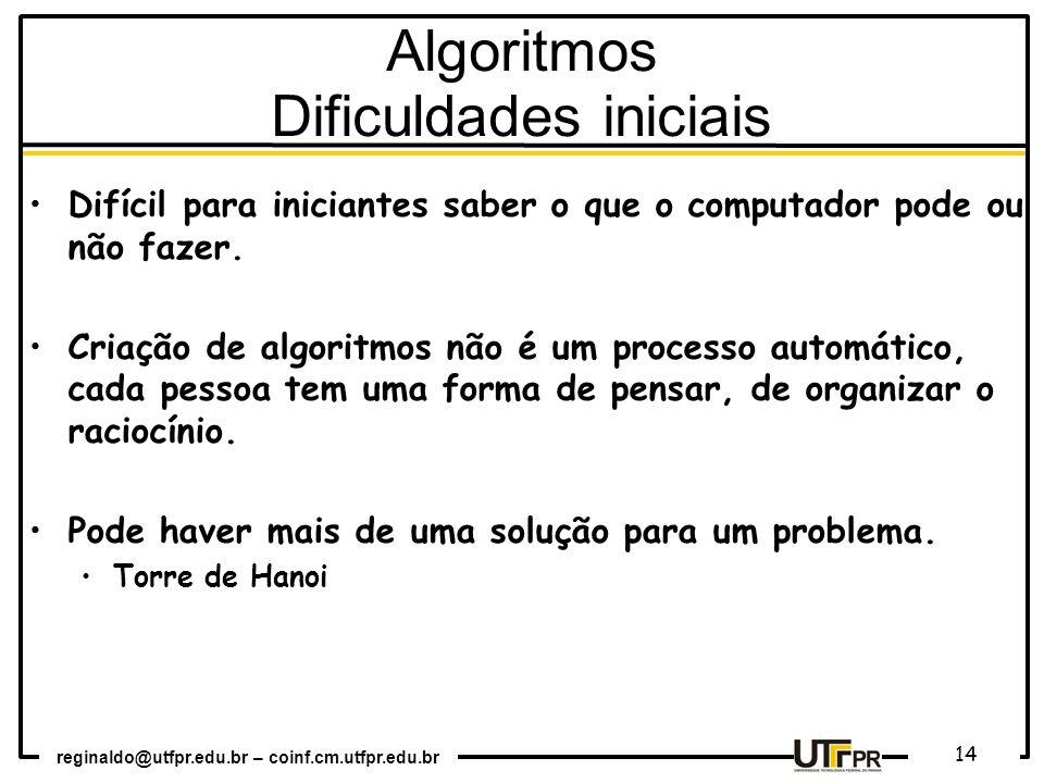 Algoritmos Dificuldades iniciais