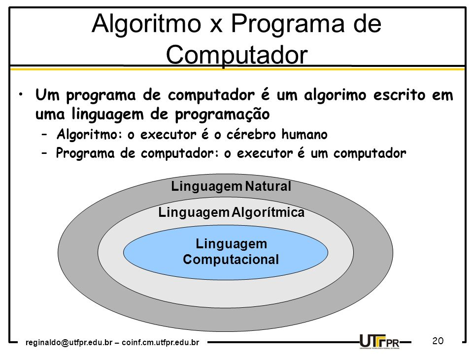 Algoritmo x Programa de Computador