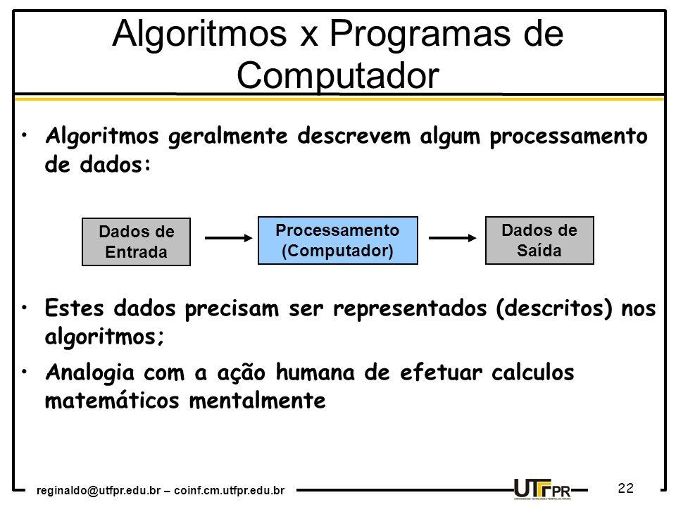 Algoritmos x Programas de Computador