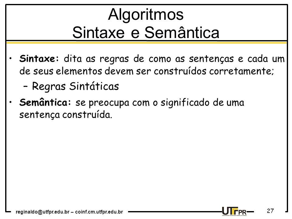 Algoritmos Sintaxe e Semântica