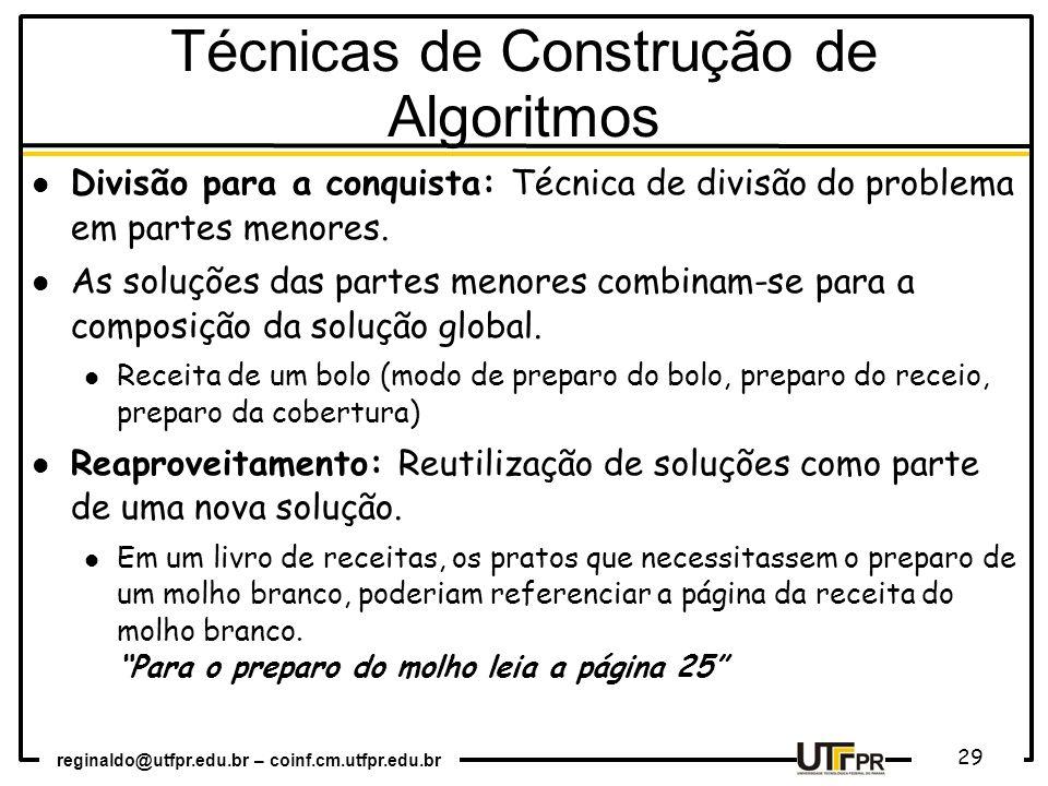 Técnicas de Construção de Algoritmos
