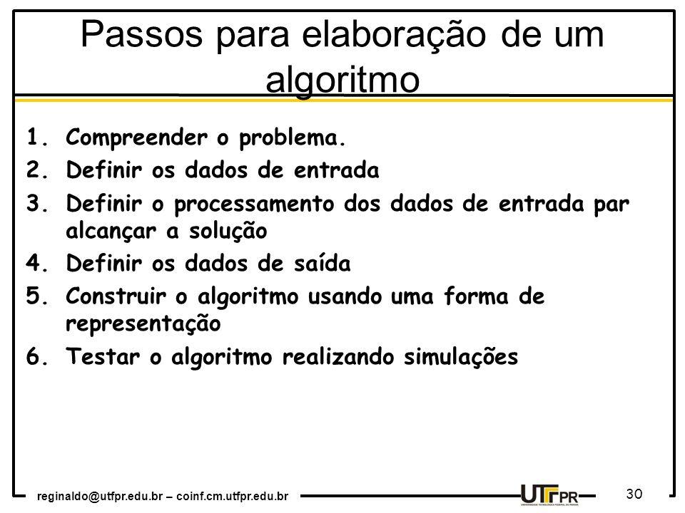Passos para elaboração de um algoritmo