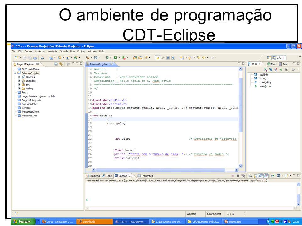 O ambiente de programação CDT-Eclipse