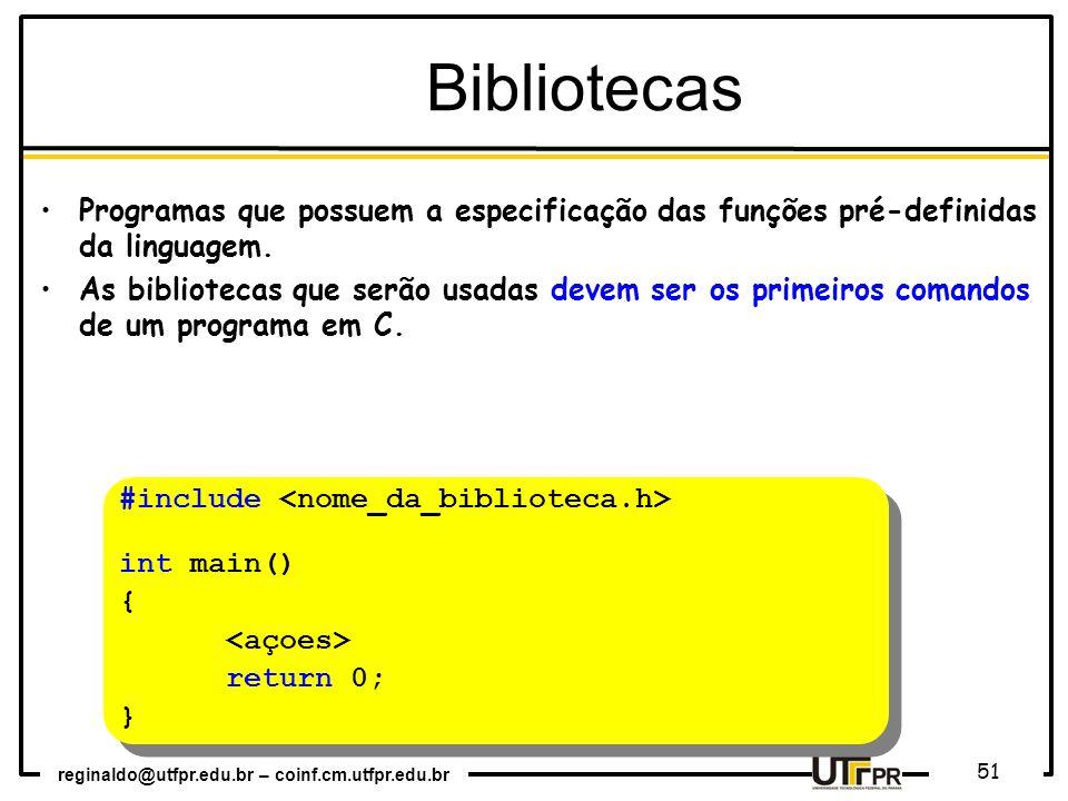 Bibliotecas Programas que possuem a especificação das funções pré-definidas da linguagem.