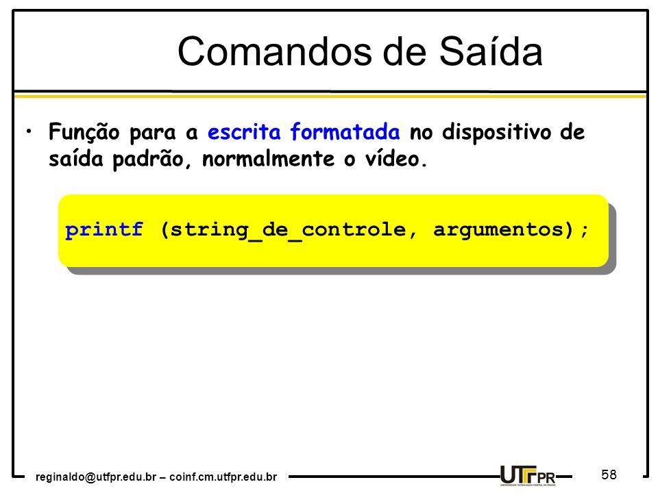 Comandos de Saída Função para a escrita formatada no dispositivo de saída padrão, normalmente o vídeo.