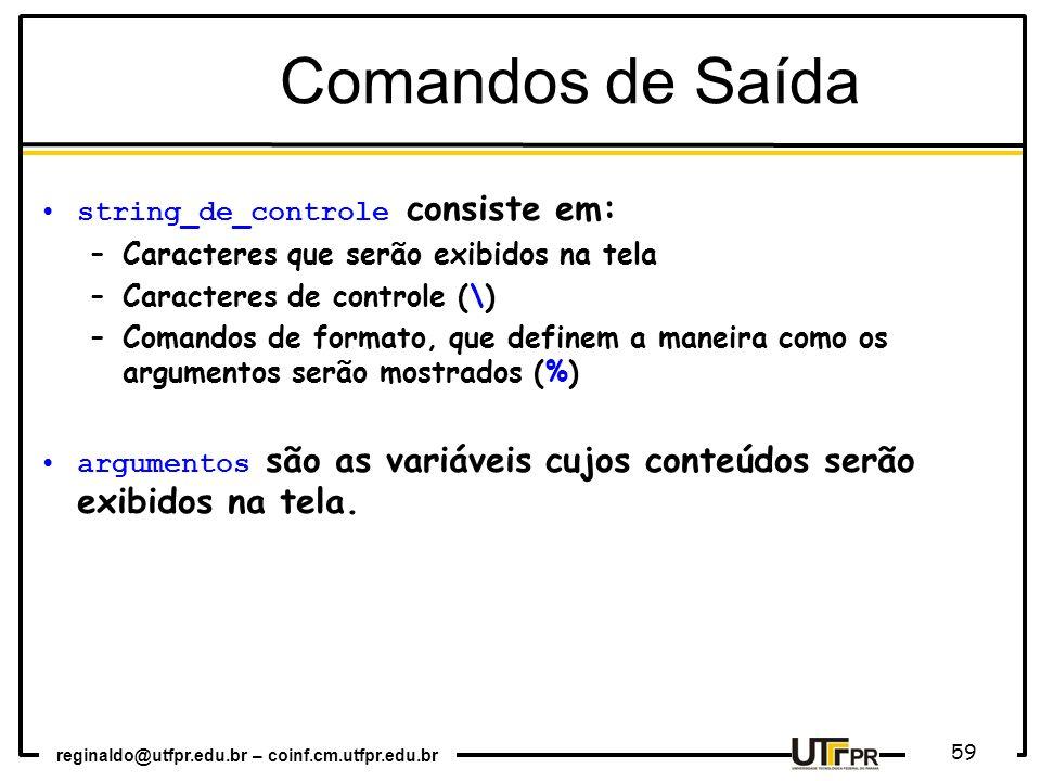Comandos de Saída string_de_controle consiste em: