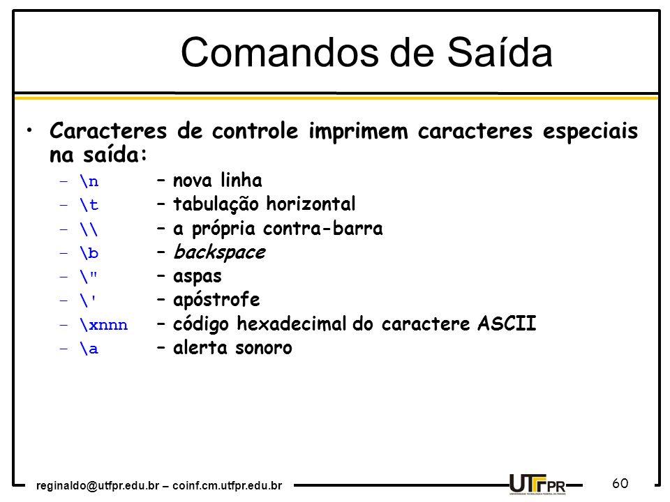 Comandos de Saída Caracteres de controle imprimem caracteres especiais na saída: \n – nova linha.
