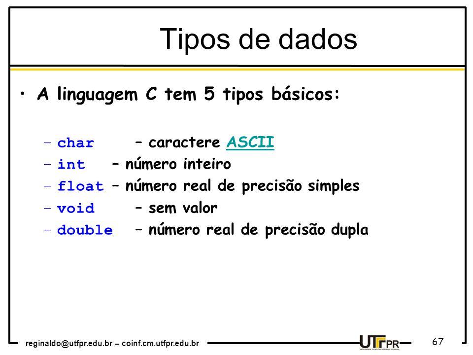 Tipos de dados A linguagem C tem 5 tipos básicos: