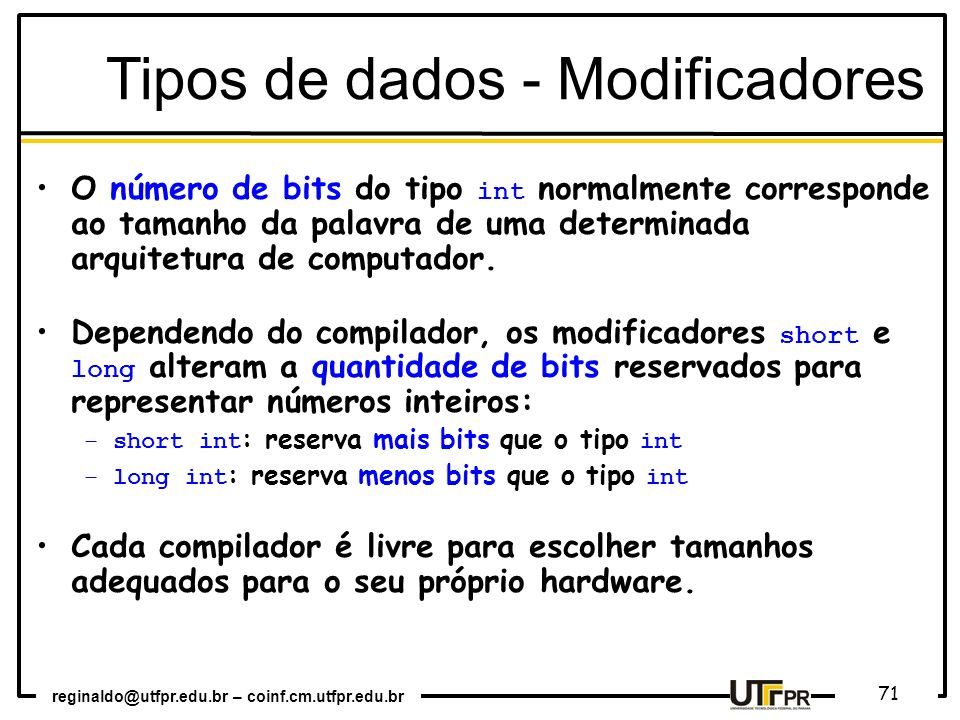 Tipos de dados - Modificadores