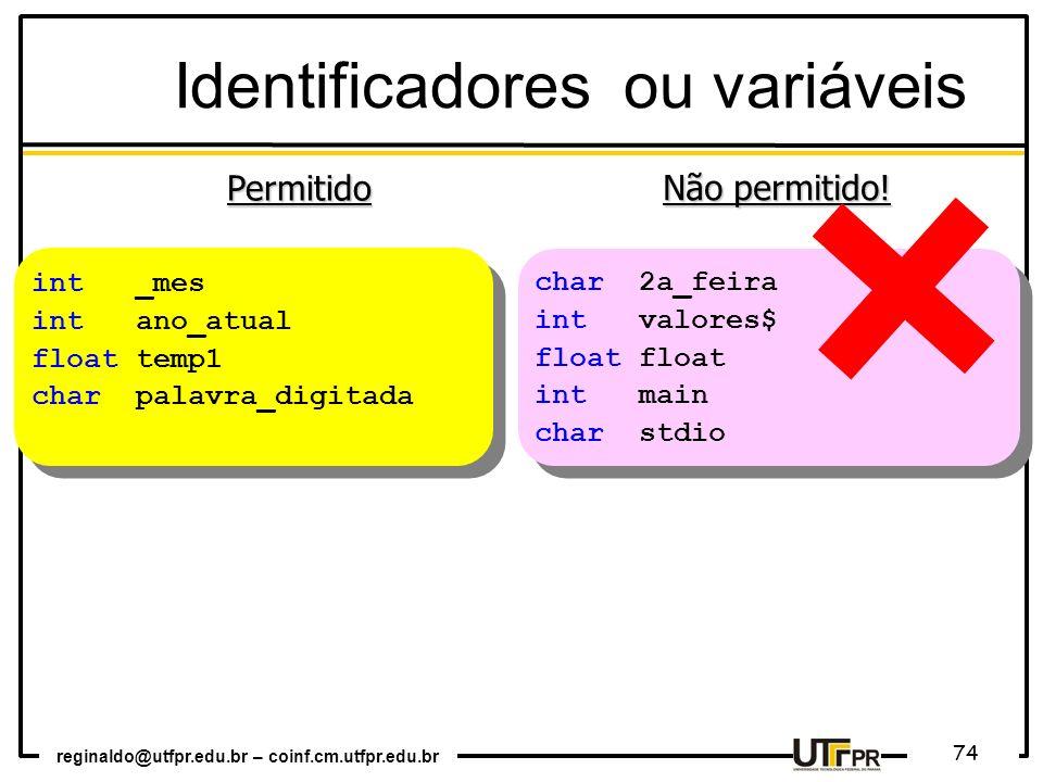 Identificadores ou variáveis