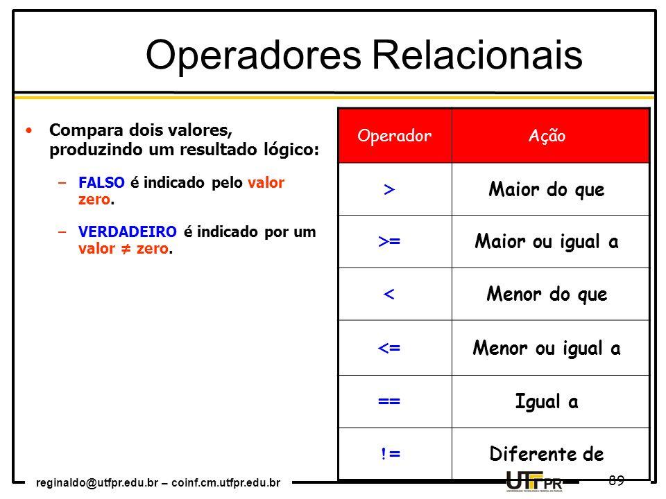 Operadores Relacionais