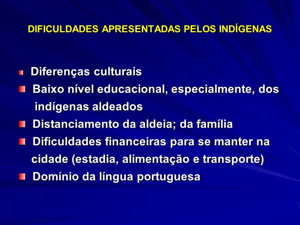 DIFICULDADES APRESENTADAS PELOS INDÍGENAS