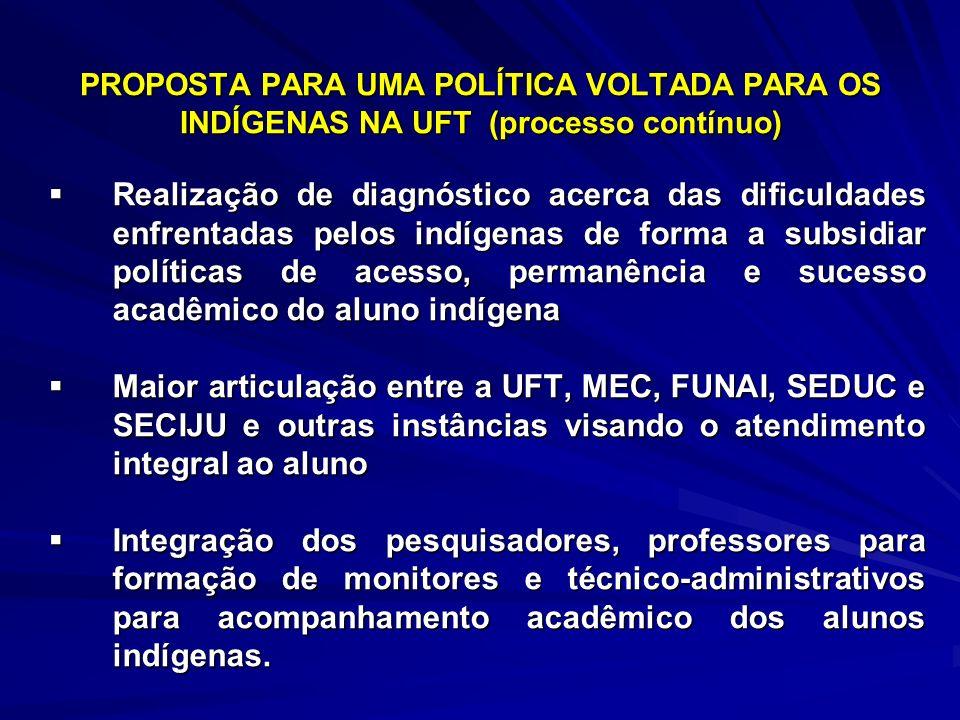 PROPOSTA PARA UMA POLÍTICA VOLTADA PARA OS INDÍGENAS NA UFT (processo contínuo)