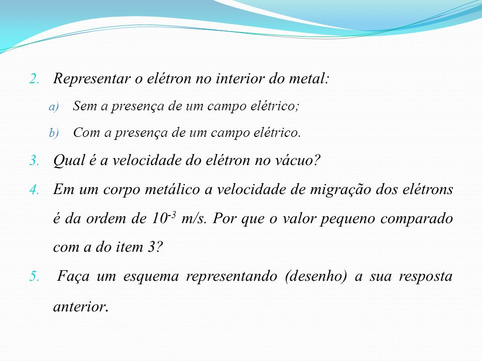 Representar o elétron no interior do metal: