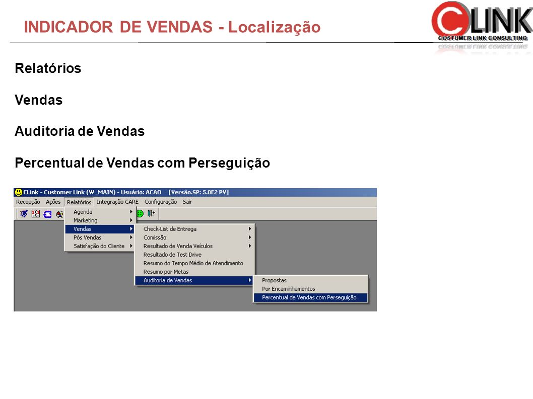 INDICADOR DE VENDAS - Localização
