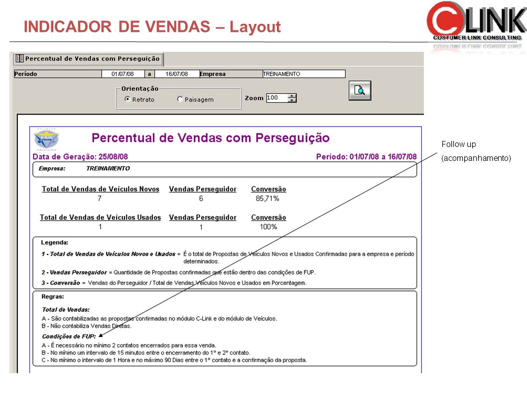 INDICADOR DE VENDAS – Layout