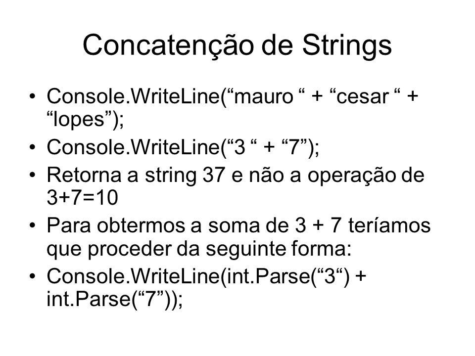 Concatenção de Strings