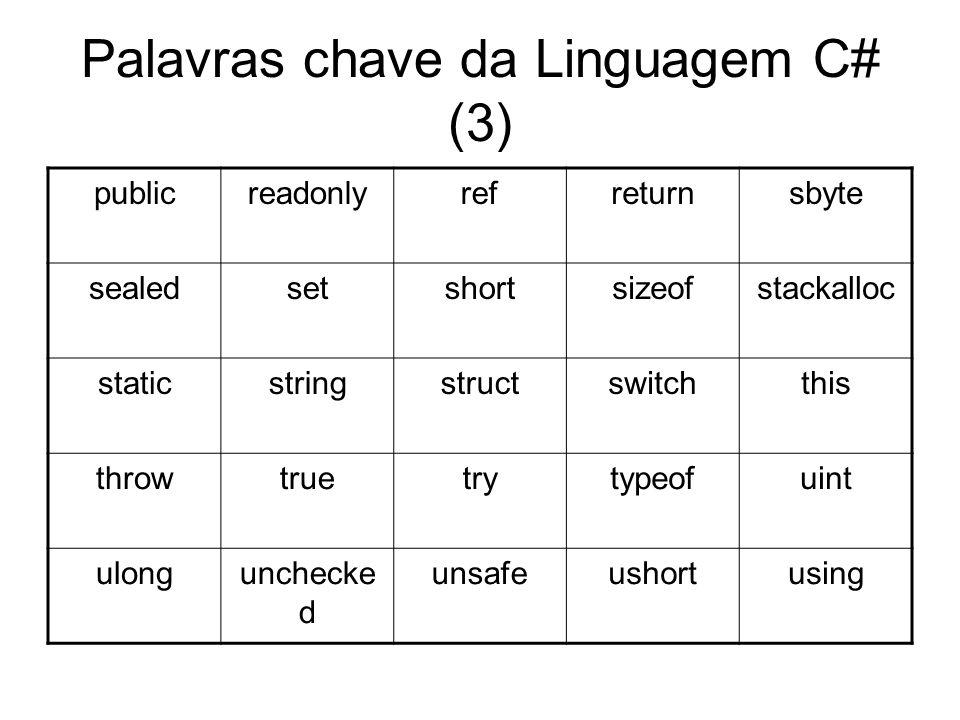 Palavras chave da Linguagem C# (3)