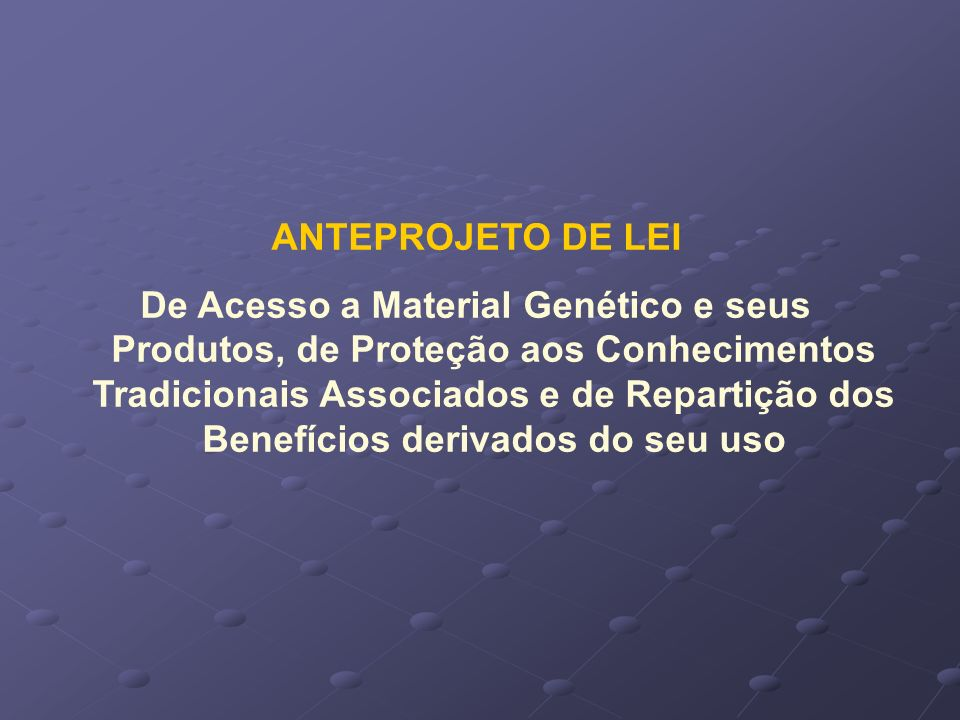 ANTEPROJETO DE LEI