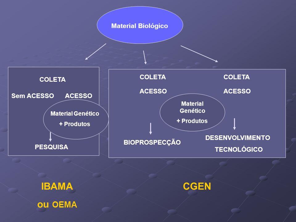 IBAMA ou OEMA CGEN Material Biológico COLETA COLETA COLETA ACESSO