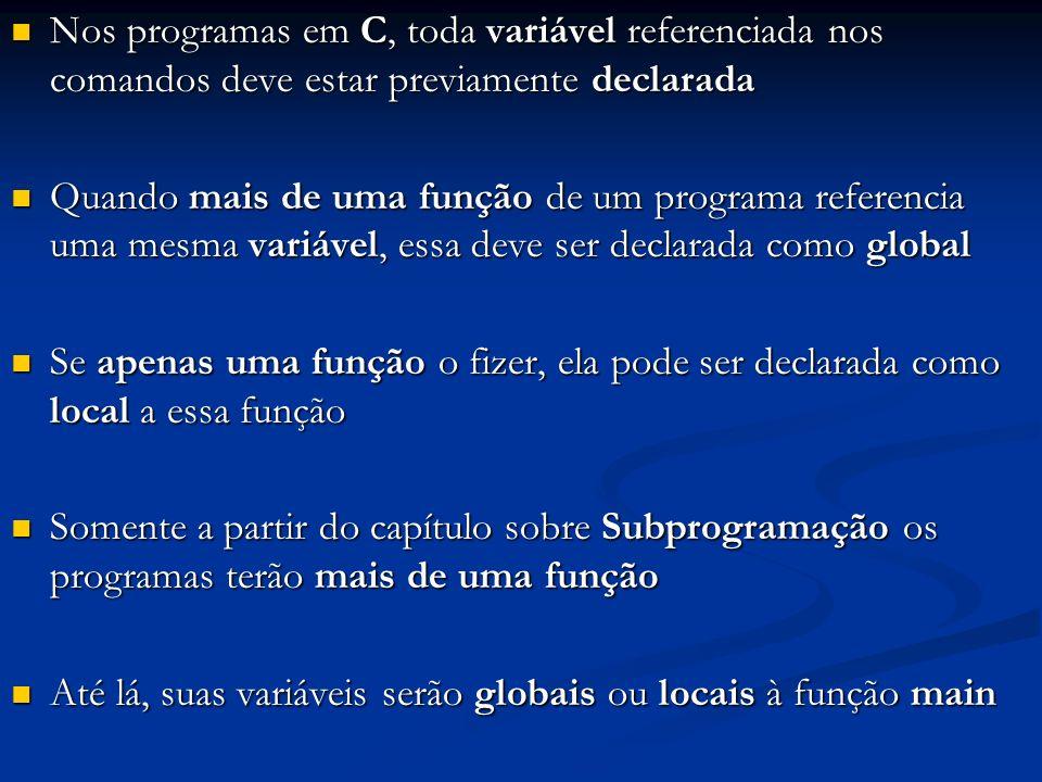Nos programas em C, toda variável referenciada nos comandos deve estar previamente declarada