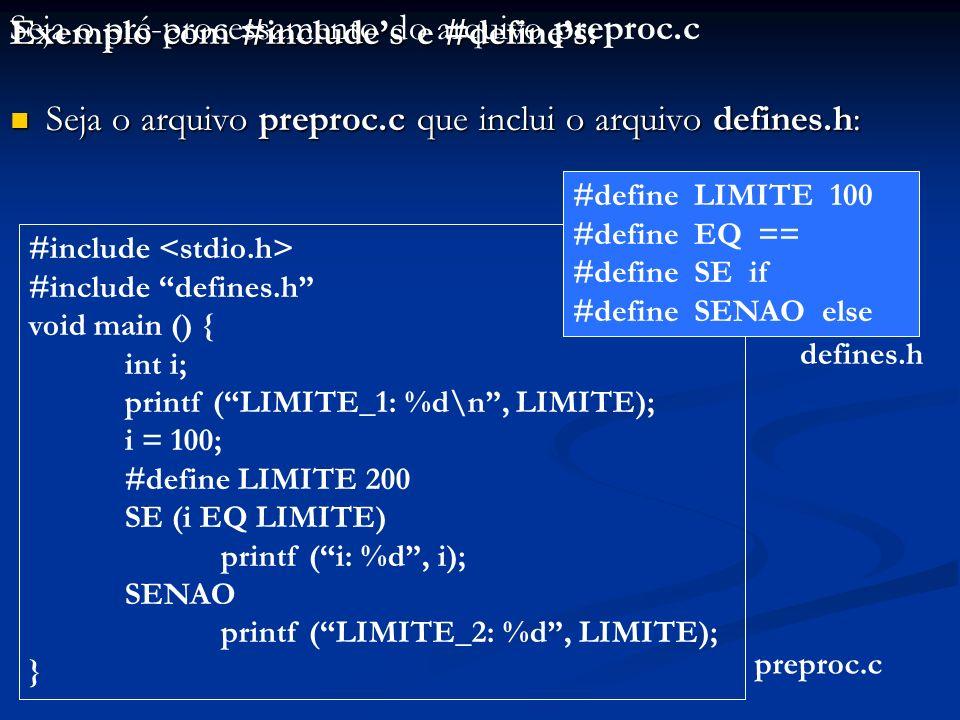 Seja o pré-processamento do arquivo preproc.c