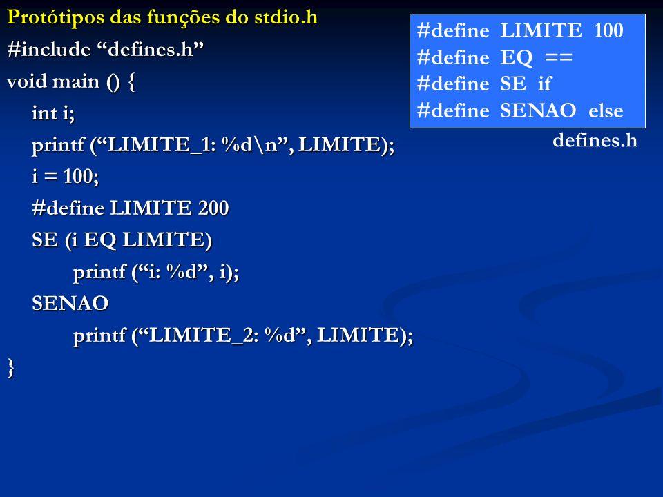 Protótipos das funções do stdio.h